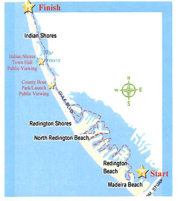 Map of Boat Parade Route beginning just north of the Tom Stuart Causeway and ending at Caddy's Indian Shores
